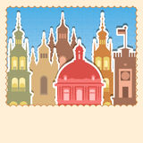 Old city sticks vector. Frame. Set of vector old buildings, architecture objects for your design. Vector frame Vector Illustration