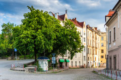Old city still asleep in the morning, wrapped by street. Stock Photo