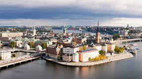 Old city, Stockholm, Sweden. Panoramic view on the Old city about heights, Stockholm, Sweden stock photo