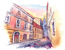 Old city street. Beautiful old buildings along the city street royalty free illustration