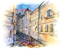 Old city street. Beautiful old buildings along the city street stock illustration