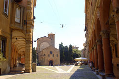 Old city street Bologna Italy. Square in the old city center of Bologna,Italy Royalty Free Stock Image