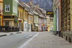 Old city street in Brasov Romania Royalty Free Stock Photo