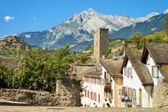 Old city street Majorie Castle in Sion Valais Switzerland. Old city street and Majorie Castle in Sion, Canton Valais, in Switzerland royalty free stock photo