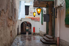Old City Street. Old Retro European City Street in the rainy day Royalty Free Stock Photography