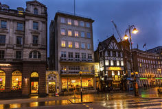 Old City Street Twinnings Tea Shop Nght London England Stock Photography