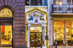 Old City Street Twinnings Tea Shop Nght London England. Shops, Pubs, and restaurants Royalty Free Stock Photos
