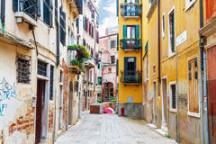 Old city street in Venice. Royalty Free Stock Photography