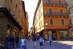 Old city street view Bologna Italy Stock Images