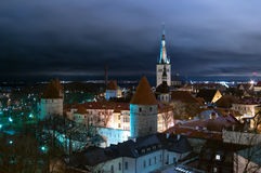 Old city Tallinn. Old city in the evening the top view Stock Photo