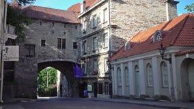 Old city in Tallinn, Estonia. Big Sea gate stock footage