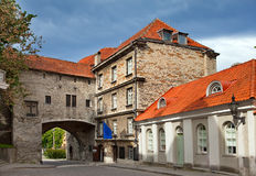 Old city in Tallinn, Estonia. Big Sea gate Stock Photography