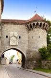 Old city in Tallinn, Estonia. Big Sea gate Stock Photography