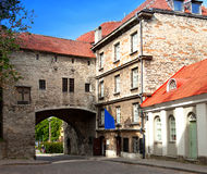 Old city in Tallinn, Estonia. Big Sea gate Stock Images