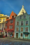 Old city, Tallinn, Estonia. Bright multicolor houses on the Town hall square. Stock Photo