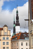 Old city, Tallinn, Estonia. old houses and Holy Spirit Church Royalty Free Stock Photo