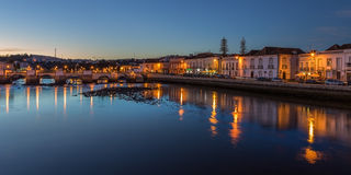 Old City of Tavira. At sunset. Arabic bridge. Stock Image