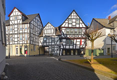 Old city with timbered houses Stock Images