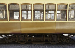 Old city train. Old train town, detail side of a tram in Lisbon, former transport Stock Image