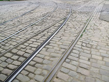 Old City Tram Tracks Royalty Free Stock Photography