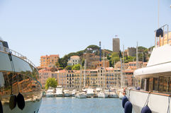 Old City two yachts Cannes French Riviera Royalty Free Stock Images