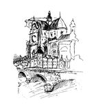 Old city, vector illustration Stock Image