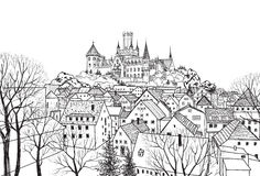 Old city view with buildings and castle on background. Medieval. Old city view with castle on background. Medieval european castle landscape. Pencil drawn Royalty Free Stock Photos