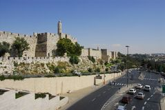 Old City Wall. Old City exterior wall near Jaffa gate, Old City Jerusalem Israel Stock Photos