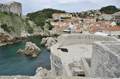 Old City wall of Dubrovnic, Fort Lovrijenac, [St Lawrence fortress] former fortress, now theatre of Dubrovnik. Stock Photos