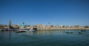 The old city wall and harbor of akko,israel Stock Photos