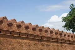 Old city wall of nakhon Si Thammarat, Thailand. Part of an old city wall of nakhon Si Thammarat, Thailand. This is the survive section of the wall with other Royalty Free Stock Photography