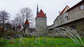 The old city wall in Tallinn, Estonia Stock Images