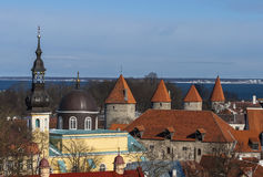 The old city wall with towers Royalty Free Stock Photos