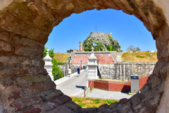 The old city walls of Corfu town in Greece. Now an important travel destination for tourist in the summer, on the old island of Corfu. Also known as Kerkyra Royalty Free Stock Images