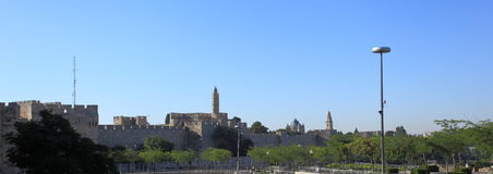 Old City Walls in Jerusalem from Jaffa Street Royalty Free Stock Image
