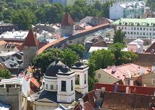 Old City Walls with the Medieval Towers and Rooftop View, Tallinn, Estonia Royalty Free Stock Image