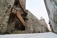 The old city walls at winter. Tallinn. Estonia. Tallinn is the capital and largest city of Estonia; the Old Town is one of the best preserved medieval cities in stock image