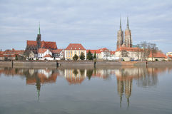 Old city, Wroclaw. View on the old city in Wroclaw. Ostrow Tumski in April 2010. Poland royalty free stock image