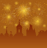 Old Cityscape with Celebration Fireworks Royalty Free Stock Image