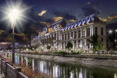 The old civic center of Bucharest, near Dambovita river. royalty free stock photography