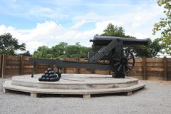 Old Civil War era Cannon Ball Gun on it's turret. Royalty Free Stock Photography