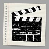 Old clapper board vector in doodle style Stock Images