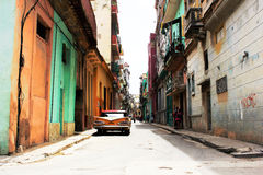 Old classic american car in the street. S of Havana Royalty Free Stock Images