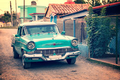 Old classic american car in a street of Vinales Cuba Stock Images