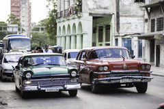 Old Classic American Cars. Beautiful details of the old cars in Havana, Cuba royalty free stock photo