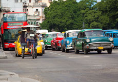 Old classic american cars in the streets of Havana Stock Image