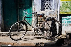 Old classic bike in Udaipur, India. royalty free stock images
