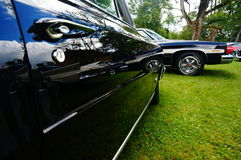 Old classic black car inlet details Stock Photo