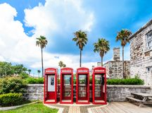 Four British Phone Booths on Bermuda Royalty Free Stock Photography