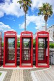 Three British Phone Booths on Bermuda Royalty Free Stock Images